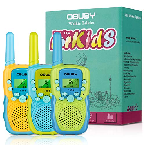 Walkie Talkies for Kids, 22 Channels 2 Way Radio Kid Toy 3 Miles Long Range with Backlit LCD Flashlight Best Gifts for Boys and Girls to Outside Adventure, Camping, Hiking 3 Pack