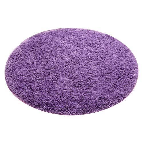 J&SKD Circle Rugs for Living Room Bedroom, Bedroom Kids Nursery Rug Super Soft Living Room Home Shaggy Carpet, Home Decor Carpet,Purple,80cm