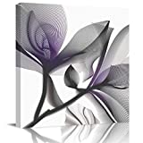 Square Canvas Wall Art Decor,X-Ray Flowers Floral, Lavender Oil Painting Prints on Canvas Wall Decoration for Living Room Bedroom,Stretched and Frame,Ready to Hang-16x16in