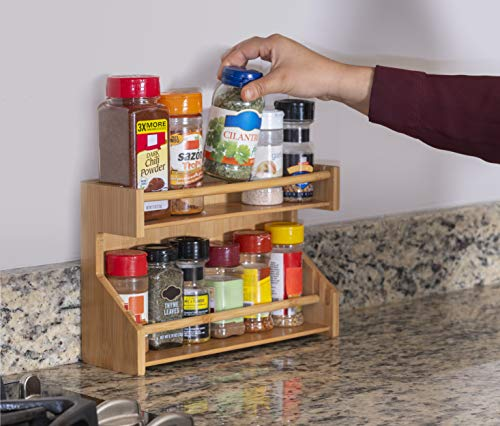 2Tier Adjustable Bamboo Spice Rack  Wooden Organizer Shelf for Seasoning Jars Herbs Sauce Bottles  Wall Mountable Expandable Wood Holder for the Kitchen  1175x75x35 Inch