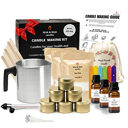 Candle Making Kit for Adults and Teens, Soy Wax Candle Making Supplies, Full Candle Making Kit for Beginners, Arts and Crafts Kit for Women, DIY Kits for Adults, Make Your Own Candles by Wick and Wish