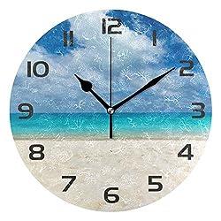 One Bear Beautiful Beach Wall Clock, Non Ticking Quartz Analog Silent Seashore Sea Ocean Blue Sky Round Clocks Battery Operated for Kitchen Bathroom Living Room Home Art Decor