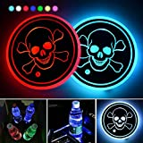 LED Cup Holder Lights,2 Packs Skull Car Coaster with 7 Colors Changing USB Charging Mat, Luminescent Cup Pad Interior Atmosphere Lamp Decoration Light (Skull-02)
