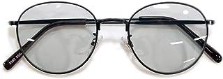 MERRY PLEASURE (メリープレジャー) 伊達メガネ サングラス ボストン 丸メガネ 丸型 ライトカラーレンズ 薄い色 カラーレンズ UVカット メンズ レディース