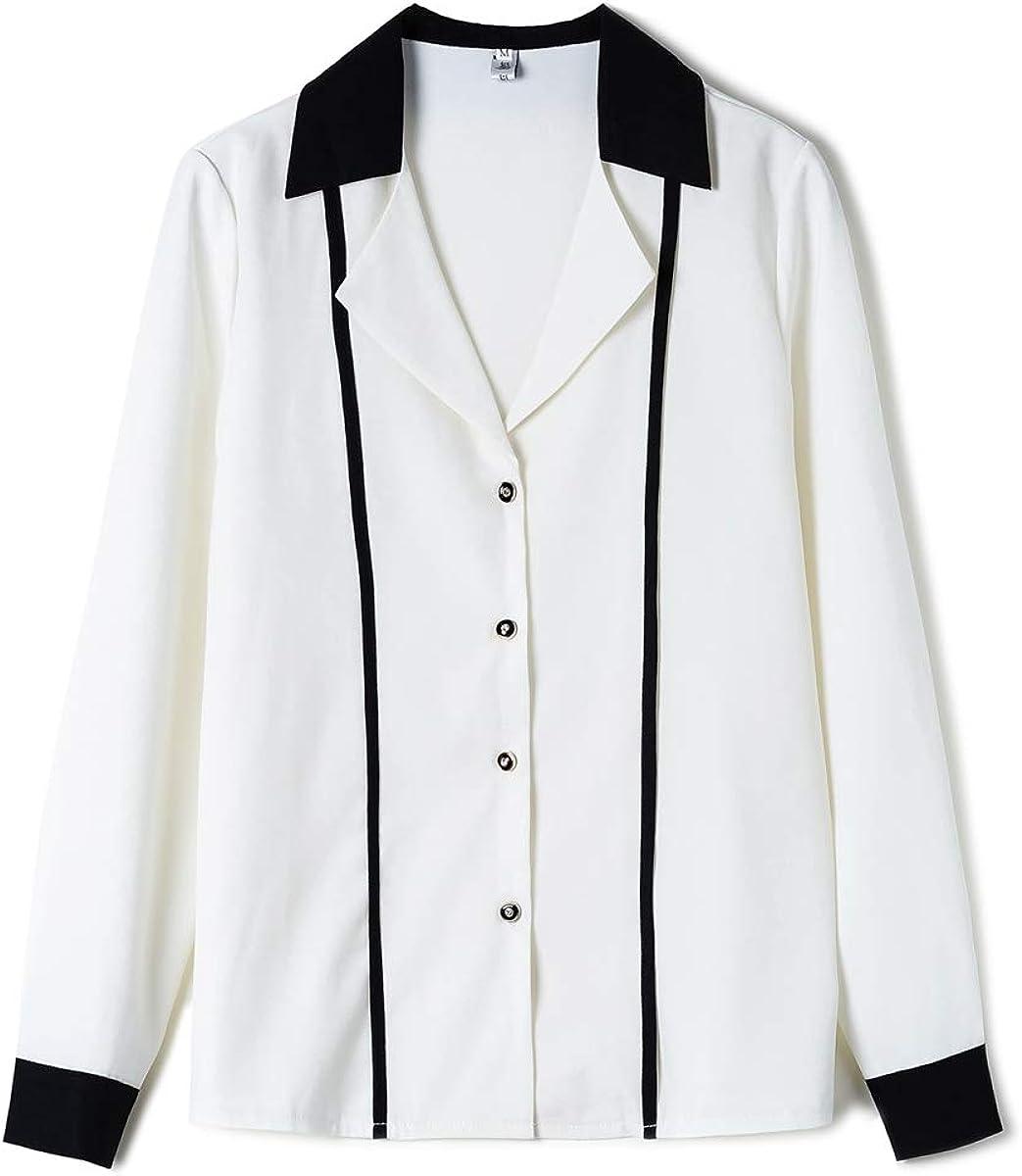 Women Notch Lapel V Neck Chiffon Button Down Blouse Long Sleeve Office OL Shirt Tops
