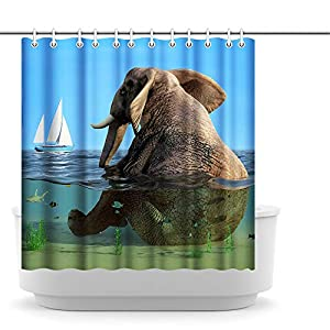 Innopics Elephant Shower Curtain Funny Animal Bathes in The Sea Bath Curtain Waterproof Polyester Fabric for Home Bathroom Decoration