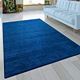 Paco Home Teppich Handgeknotet Gabbeh Hochwertig 100% Baumwolle Dezent Meliert In Uni Blau, Grösse:120x170 cm