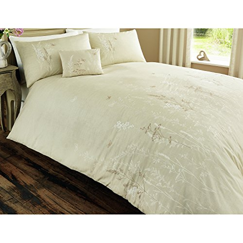 Serene - Claudia - Easy Care Floral Duvet Cover Set - Double, Natural