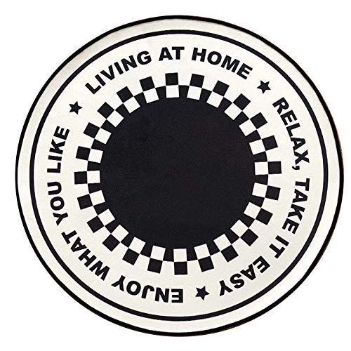 alfombra HAIZHEN Redonda Moderna Y Elegante, Nórdica En Blanco Y Negro para Sala De Estar, Mesa De Centro para Dormitorio, Lavable A Máquina(Size:80X80CM)