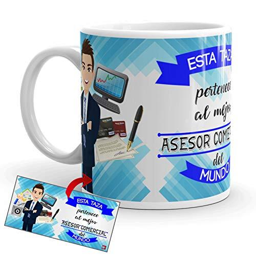 Kembilove Taza de Café del Mejor Asesor Comercial del Mundo – Taza de Desayuno para la Oficina – Taza de Café y Té para Profesionales – Taza de Cerámica Impresa – Tazas para Asesores Comerciales