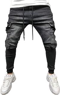 YYG Men Washed Drawstring Multi-Pockets Hip Hop Casual Sport Jogger Jeans Pants