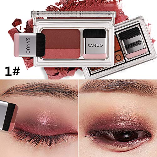 Lomire 2 in 1 Eye Shadow Lidschatten Palette Mit Puff Professionelles Makeup Revolution,Easy Quick Make-up Set mit Pinsel (1#)