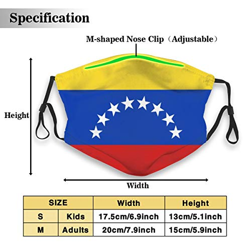 Gezonde herhaalbare stofdichte winddichte motorfiets masker Venezuela Vlag Geel blauw rood witte sterren Unisex maskers voor het voorkomen van bacteriële stof S(kids) Kleur: wit