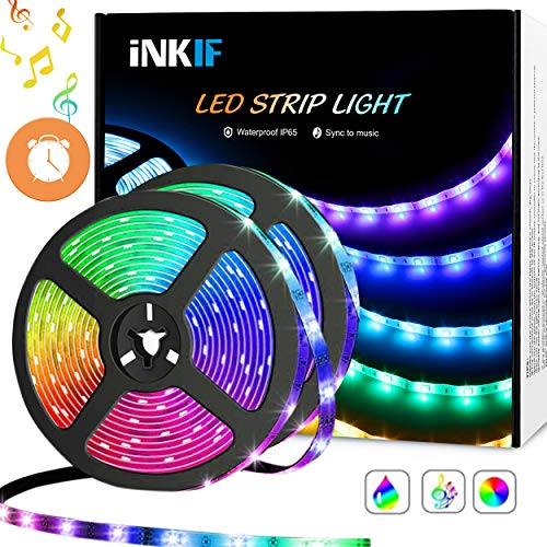 LED Strip Lights, Sync to Music 32.8ft/10m Waterproof RGB LED Light Strips Flexible 5050 Neon Lights 300LEDs Rope Lights with 40 Key Remote for Room, Bedroom, TV, Party