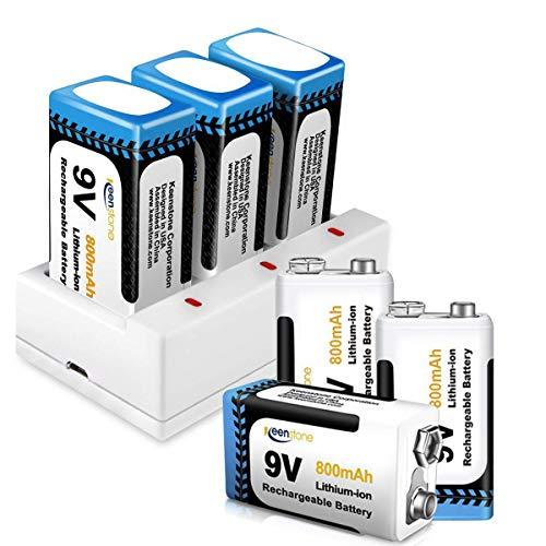 9V Batteria Ricaricabile, Keenstone 6pcs 9V Batterie Li-ion Ricaricabile 800mAh + Caricabatteria con 3 Porte di Ricarica Rapida per 9V Batteria agli Ioni di Litio (Cavo di Ricarica USB Incluso)