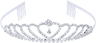 PIXNOR Tiara con strass, ideale per spose e damigelle d'onore, argento Style 8