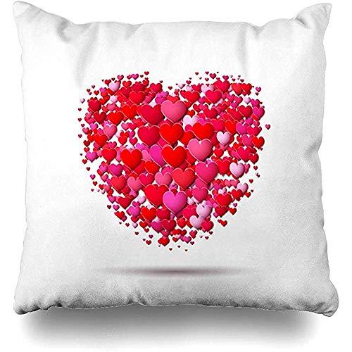 Imodest decoratieve kussenslopen label Valentijnsdag hartvorm Made Red Amour Celebrate kussensloop 45 x 45 cm Zippered Cushion Case set van 2