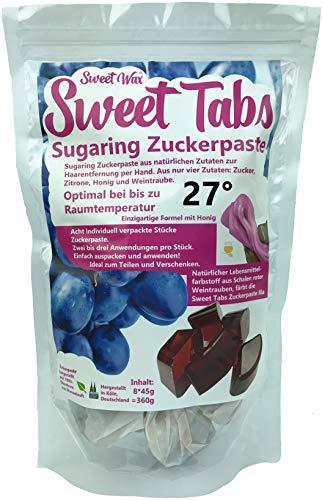 Sweet Tabs 27° Lila Brazilian Wax. Einfach auspacken, kneten und anwenden. Enthaarungswachs aus Sugaring Zuckerpaste zur Haarentfernung per Hand. Keine Vliesstreifen oder Erwärmen nötig. 8 * 45g =360g