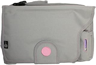 Safe Fit Deluxe Diaper Changer with Extra-Large Changing Pad & Disposable Diaper Bags (Grey & Pink)