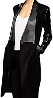 Women Long Sleeve Open Front Pu Leather Wool Blend Trench Pea Coat