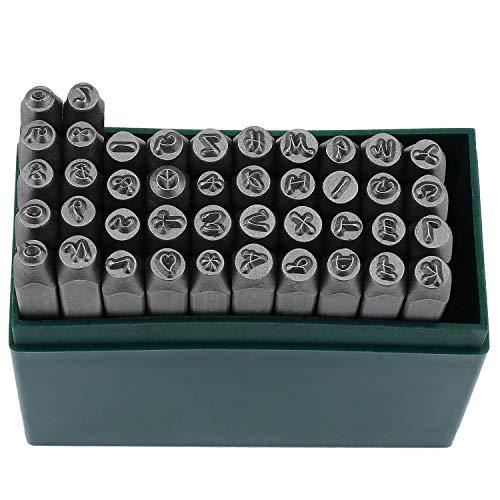 WiMas 42PCS Schlagbuchstaben Stanz-Kit, Alphabet Buchstaben und Zahlen Stempel Set 1/8 Zoll 3mm