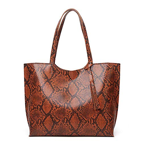 Bag Tote Shoulder Handbag Satchel Signature Women's Purses Bags Laptop for Women 2020 New Women's One-Shoulder Bag Fashion Serpent Women's Bag European and American Tide Tote Bag. Brown.