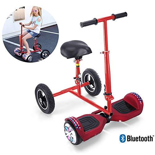 Monopatín Eléctrico Auto-Equilibrio Patinete 7 Pulgadas con Hoverkart Go-Kart con Pasamanos De Seguridad Regulable En Altura con LED Flash Bluetooth para Adultos Y Niños,Rojo