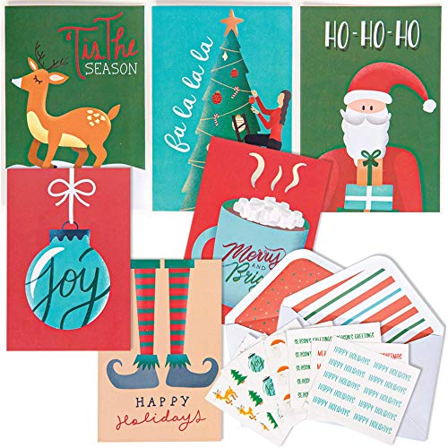 "Christmas Cards Pack. 36 Blank Greeting Cards with Envelopes and Christmas Stickers for Sealing. Assorted Holiday Cards Stationary Set. 4x6"" Boxed Greeting Cards – Merry Xmas (Vertical)"
