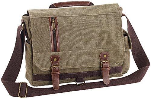 Xcase Laptoptasche: Geräumige Canvas-Retro-Umhängetasche für Notebooks bis 33 cm/13