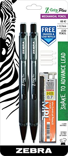 Zebra Z-Grip Plus Mechanical Pencil, 0.7mm, Bonus Lead and Erasers, Black Barrel, 2-Count