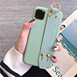 Topwin iPhone 11(6.1'') Case with Hand Strap, Soft Silicone Gel Rubber with Adjustable Wrist Strap Handy Belt Loop Kickstand Viewing Stand Feature Wristband for Apple iPhone 11 6.1'' 2019 (Green)