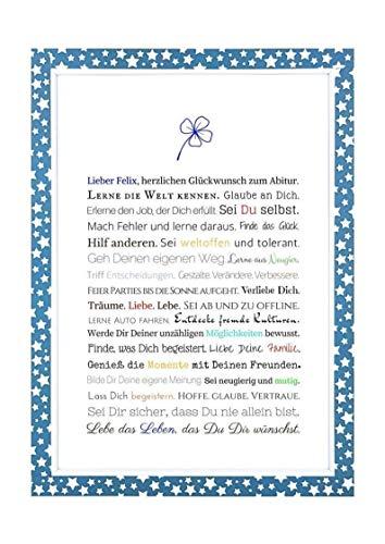 Abitur - Geschenkidee zum Abitur - Personalisiertes Bild mit Rahmen als Geschenk für den jungen Erwachsenen - Abiturgeschenk für Jungen/Männer oder Beigabe zum Geldgeschenk