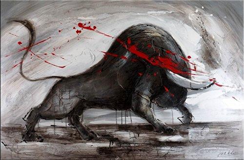 Abstrakter Stier - XXL Stier kaufen - Stiergemälde von Martin Klein - Bulle - Acryl auf Leinwand - Wandbild 80x120cm - schwarz - grau - rot - Modern Art Gemälde - Börsenstier - Charging Bull