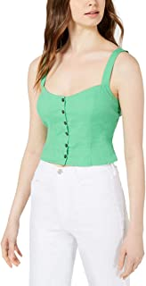 ASTR the label Womens Charlene Smocked Button Down Crop Top
