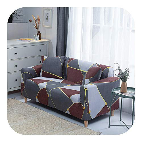 Sukyy Elastic Slipcovers Stretch Sofa Cover for Living Room Sectional Couch Cover L Shape Armchair Cover Single/Two/Three/Four Seat-Color 22-4-seat 235-300cm