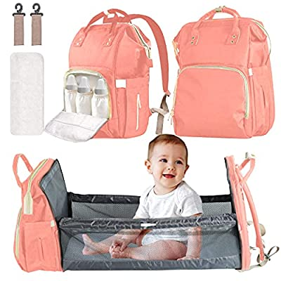 3 in 1 Diaper Bag Backpack with Bassinet,Vikano Portable Travel Crib Changing Station USB Port Foldable Bed Convertible Newborn Christmas Baby Shower Gifts Essentials Stuff for Girls Boys (Pink) from Vikano
