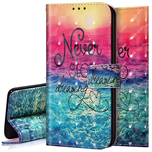 Surakey Leder Hülle für Samsung Galaxy S20 FE / S20 FE 5G Handyhülle Schutzhülle 3D Bunt Glitzer Bling Glänzend PU Tasche Leder Flip Case Brieftasche Wallet Case Handytasche Ständer,Meer