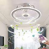 YUNZI LED Ventiladores de Techo con Luces Luz del Dormitorio App y Control Remoto Regulable Ventilador de Techo Silencio 3 velocidades Lámpara para Sala de Estar Encendiendo,Blanco