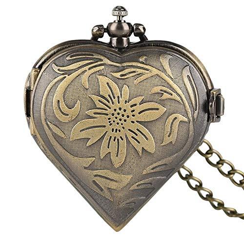 J-Love Regalos para el Amante Esposa Corazón Relojes Colgante de Cuarzo Elegante niñas Mujeres Collar de Damas Día de San Valentín