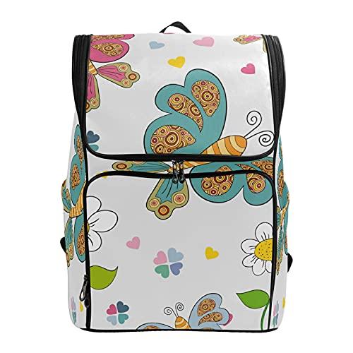PUXUQU zaino da scuola colorato floreale farfalla zaino zaino portatile borsa Bookbag viaggio borsa a tracolla per bambini Womens Mens