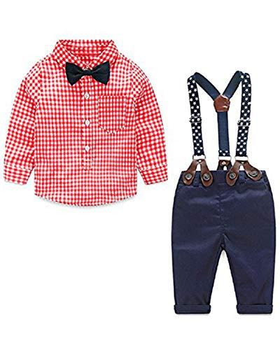 Ropa de bebé Camisa Blanca pantalón Traje de Ropa de Primavera y Verano Lavado Vestido Manga Larga Ropa Bebe Primavera y Verano(Rojo,3-4 años)