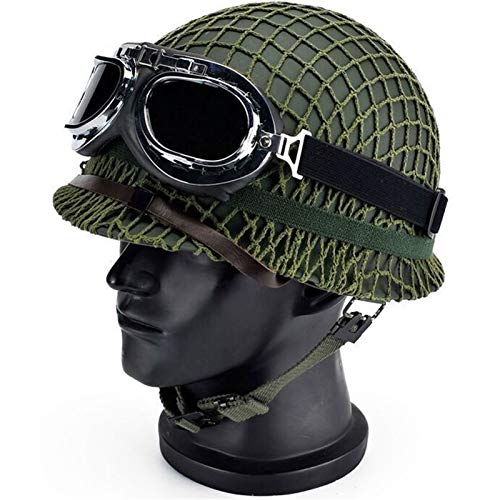 WW2 US Soldier M1 Helmet Net Cover Heavy Duty Green Reproduction Tactical Helmet Webbing Cover/Canvas Chin Strap Suitable for Military Fans, Survival in The Wild, Film and Television Props, Cosplay