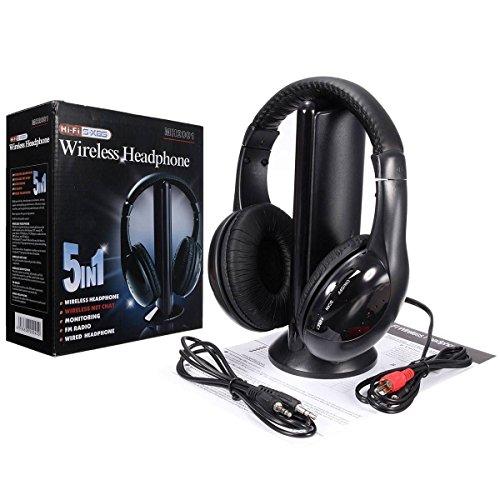 New 5 in 1 Stereo Wireless Headset Headphone+FM Transmitter for Laptop PC TV US Ship