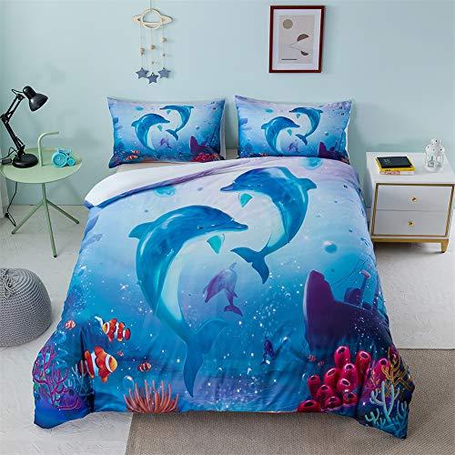 LUCHONG Underwater World - Juego de ropa de cama con estampado digital 3D, funda de edredón de tiburón, funda de edredón para niños y niñas, EE. UU. ~ Full: 200 x 230