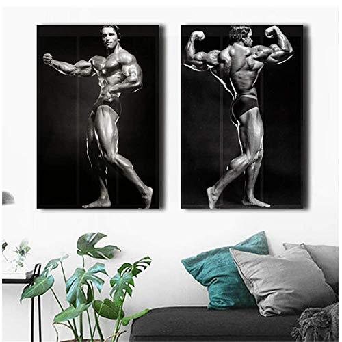 ad Gym Bodybuilding Poster Druck Auf Leinwand Malerei Wandkunst HD Bilder für Schlafzimmer-50x70cmx2pcs-Kein Rahmen