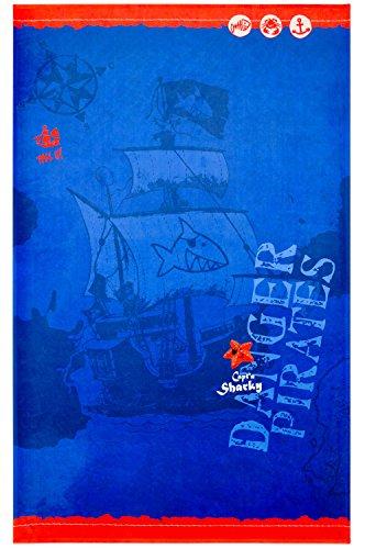 Capt'n Sharky Kinderteppich Weich und Soft, Teppich Schiff Piratenschiff 140x200 cm in Rechteck Farbe Blau, Kinderzimmer Teppich Öko-Tex zertifiziert, Bildmotiv für Jungen