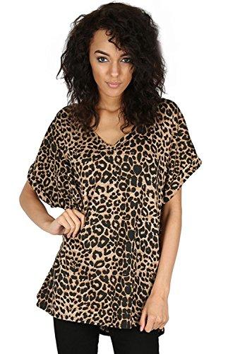 Oops Outlet Da Donna T Shirt Donna Oversize Baggy Loose Fitted Top V Collo Corto Maniche a Pipistrello Plus Size UK 8–26 Leopard Taglia Grossa (56/26)