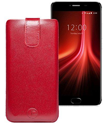 Original Favory Etui Tasche für Umidigi Z1 Pro | Leder Etui Handytasche Ledertasche Schutzhülle Hülle Hülle Lasche mit Rückzugfunktion* in rot