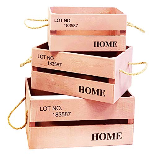 Conjunto de 3 Cajas de Madera con Frase Lot NO 183587 Home en Color Rosa