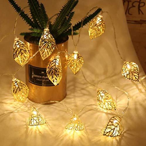 LED Lichterketten, Lichterketten für Innen- und Außenbeleuchtung für Garten, Weihnachten, Hochzeit, Party (Gold Leaf Light String)